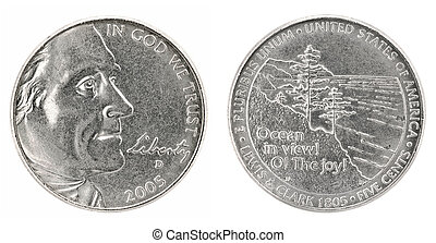 United States money. Five cents coin (2005). Obverse and reverse isolated over white