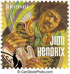UNITED STATES OF AMERICA - CIRCA 2014: A stamp printed in USA shows Jimi Hendrix, circa 2014