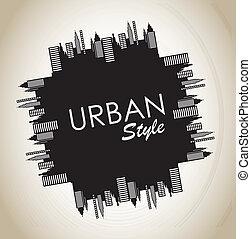 Urban style vintage over grunge background vector illustration