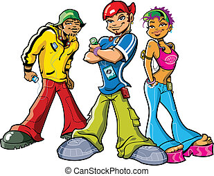 Cool Funky Urban Teen Rappers with Attitude and Portable Music Players