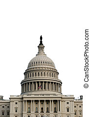 Isolated verticle shot of the US capitol. Available in landscape also.