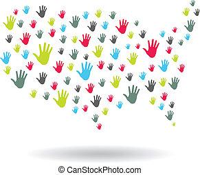USA Hands map logo