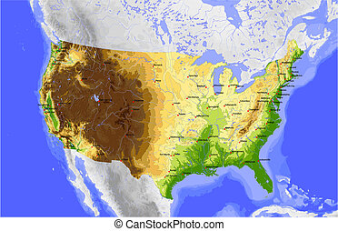 USA. Physical vector map of the conterminous USA, colored according to elevation, with rivers and ocean depths, state capitals and selected cities Surrounding territory greyed out. 36 named layers, fully editable.