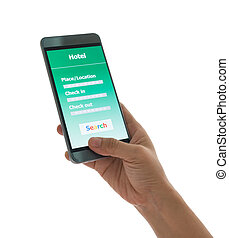 smart phone Search for hotels