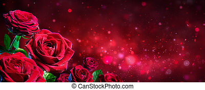 Valentine Card - Bouquet Of Red Roses On Shiny Background