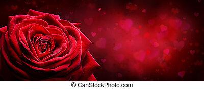 Valentine Card - Red Rose Shape Heart In Romantic Background