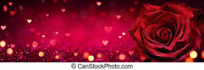 Valentines Card - Red Rose Heart Shaped On Shiny Glitter Background