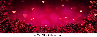 Valentines Card - Red Roses In Frame On Shiny Glitter Background