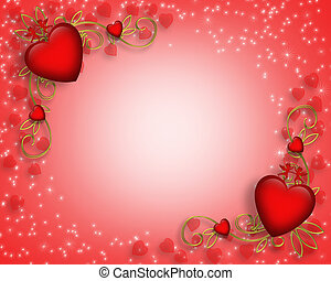 3D Valentine illustration with hearts for card or background