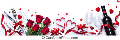 Valentines Day Dinner White Table Setting With Gift And Red Roses