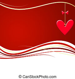 Red valentines waves with hearts