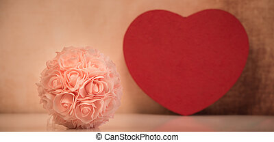 Valentine's setting with bouquet of roses