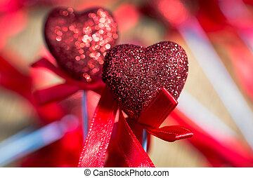 Valentines Vintage Handmade Hearts over Wooden Background. Valentine over Wood. Retro Styled Wallpaper. Valentines Day