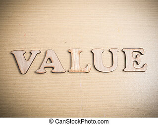 Value. Words Typography Concept