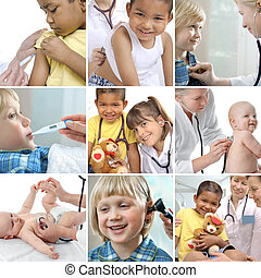 Various childrens healthcare related images in a collage
