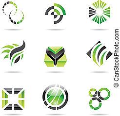 Various green abstract icons, Set 9