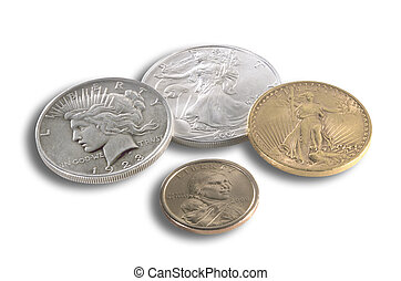 Various US coins in gold, silver and bronze