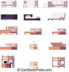 Vector beds and sofas set