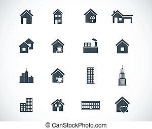 Vector black building icons set