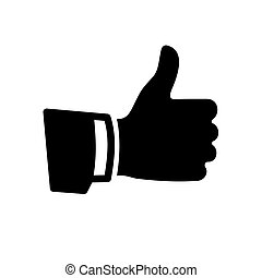 Vector Black Thumb Up Icon on White Background