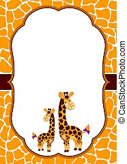 Vector Card Template with Cute Giraffes on Spotted Skin Background. Vector Baby Giraffe.