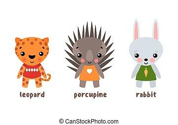 Vector cartoon zoo animals
