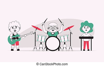 Vector character illustration of disabled kids playing in music band