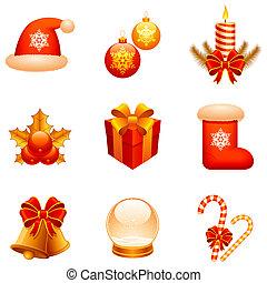 Set of 9 Christmas icons, isolated on white background.