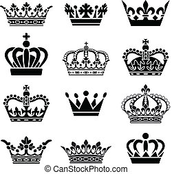 Set of 12 Crown Illustrations. Every crown is isolated on a different layer.