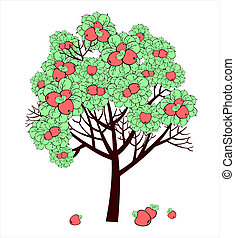 Vector drawing of apple tree with fruits
