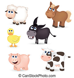 Vector Set of isolated Farm Animals