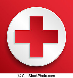 First aid medical button symbol on a white icon on a white background. Vector illustration, EPS10.