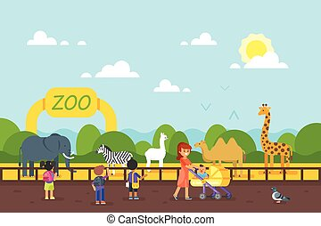 Kids are visiting zoo.