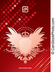 Vector glittering background and heraldic coat of arms
