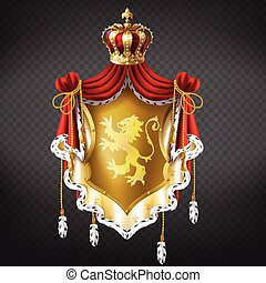 Vector golden royal coat of arms with crown