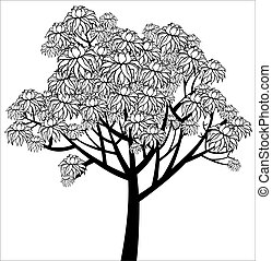 Vector graphical drawing of young flowering tree