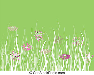 Vector grass with flowers