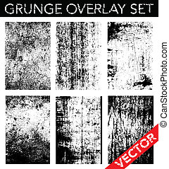 Vector Grunge Overlay Set. Simply place texture over any object to create a distressed effect.