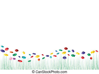 Vector hearts flowers spring