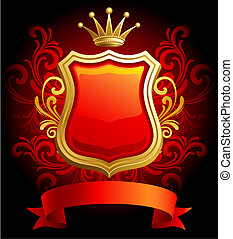 Vector illustration - Coat of Arms on red floral background