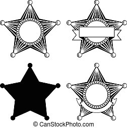 Vector illustration five pointed sheriffs star set