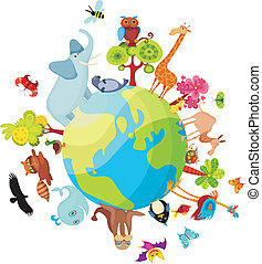vector illustration of a animal planet