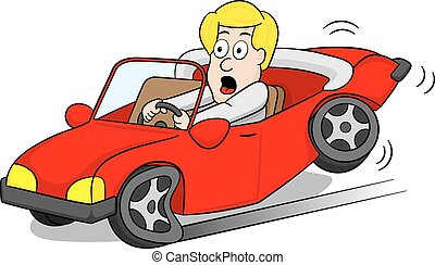 vector illustration of a car driver slams on the brakes