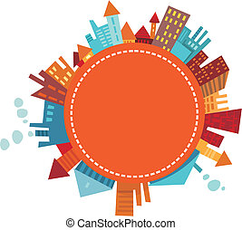 vector illustration of a colorful city