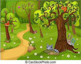 vector illustration of a forest background
