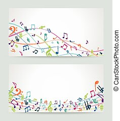 Abstract colorful music notes