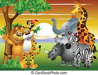 vector illustration of animal cartoon in the jungle