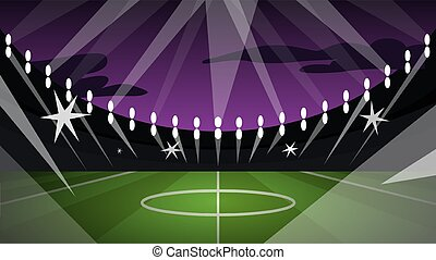 Vector illustration of big football arena with green field