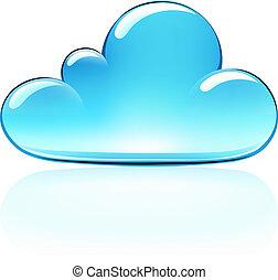 Vector illustration of blue internet cloud icon