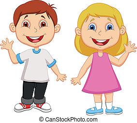 Vector illustration of Boy and girl cartoon waving hand